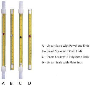 Flow meter tubes for air
